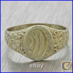 1930s Antique Art Deco Estate 14k White Gold Monogrammed Engraved Signet Ring F8