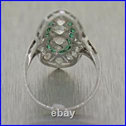 1930s Antique Art Deco Platinum 1.50ctw Diamond Emerald Cocktail Ring