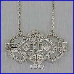 1930s Antique Art Deco Platinum 14k White Gold Diamond Pendant Chain Necklace