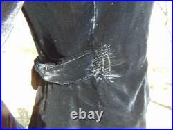 1930s Black Silk Velvet Jacket Puff Peaked Shoulders Deco Clasps 26w