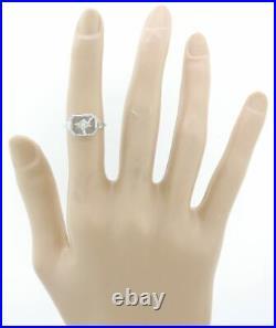 1940s Antique Art Deco Estate 14k White Filigree Camphor Glass Diamond Ring F8