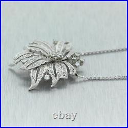 1950's Antique Art Deco 14k White Gold 1.50ctw Diamond Flower 20 Necklace