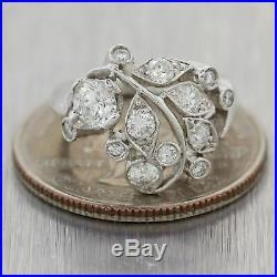1950's Antique Art Deco Platinum 1ctw Diamond Cocktail Ring