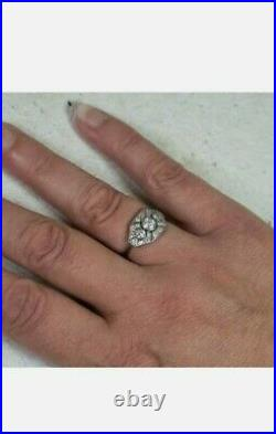2.1Ct Antique Art Deco Round Diamond Vintage Engagement Ring 14k White Gold Over