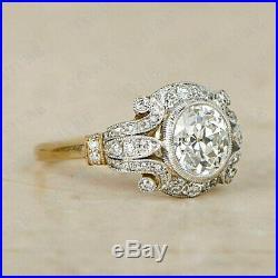 2.20 Ct Round Sim Diamond Vintage Antique Art Deco Engagement Ring 14K Gold Over