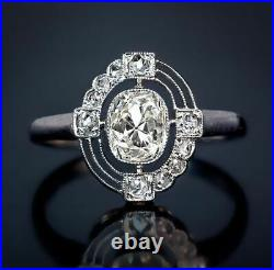 2 Ct Antique Cushion Cut Vintage Art Deco Engagement Ring In 925 Sterling Silver