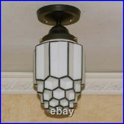 221b Vintage antique aRT Deco Glass Shade Ceiling Light Fixture Skyscraper