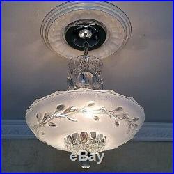 222z Vintage arT DEco Ceiling Glass Light Lamp Fixture Chandelier blue 3 light