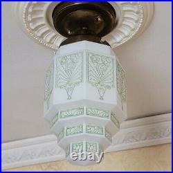 224b Vintage antique aRT DEco Ceiling Light Lamp Fixture Glass Shade pendant