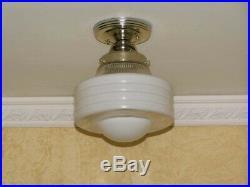 264 Vintage Antique arT Deco Ceiling Light Lamp Chrome Fixture Glass Hall Bath