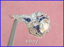 2Ct Round Cut Moissanite Art Deco Vintage Engagement Ring Solid 14K White Gold