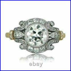 2Ct Vintage Diamond Circa Antique Art Deco Engagement Ring 14k White Gold Over