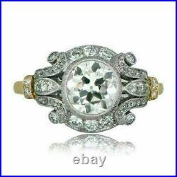 2Ct Vintage Diamond Circa Antique Art Deco Engagement Ring 14k Yellow Gold Over