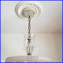 315 Vintage 40's Ceiling Light Lamp Fixture Chandelier antique pink SUNFLOWER