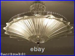 334 Vintage 40's Ceiling Light Lamp Fixture Chandelier Re-Wired SUNFLOWER