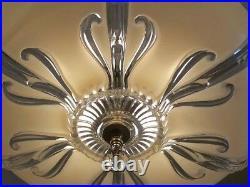 358 40's Vintage Antique Ceiling Light Lamp Fixture Glass Chandelier