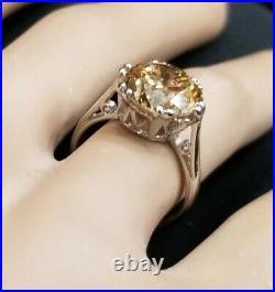 4.02ct. Platinum art deco filigree Engagement ring natural champagne diamond