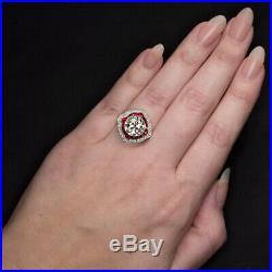 4 Carat Old European Cut Diamond Engagement Ring Ruby Platinum Vintage Art Deco