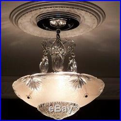581 Vintage antique Glass Ceiling Light Lamp Fixture Chandelier art deco pink