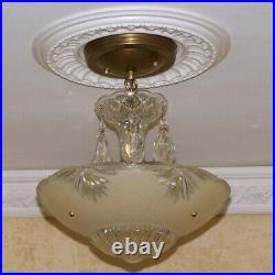 586 Vintage antique Glass Ceiling Light Lamp Fixture Chandelier art deco almond