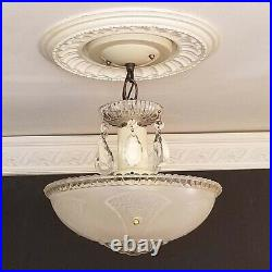 590 Vintage antique arT Deco Glass Shade Ceiling Light Lamp Fixture Chandelier