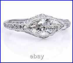 5Ct East West Marquise Cut Diamond Vintage Engagement Ring 14K White Gold Over