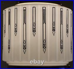 696 Vintage aRT DEco 30s Chrome Ceiling Light Fixture Pendant Glass bath hall
