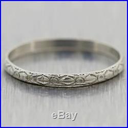 7-5-31 1930's Antique Art Deco Platinum Engraved Wedding Band Ring