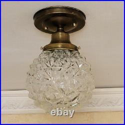 874b Vintage arT Deco Glass Ceiling Light Fixture Globe hall porch bath 1 of 2