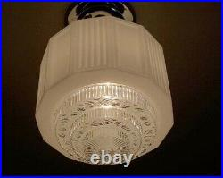 956 Vintage arT Deco Glass Shade Ceiling Light Fixture hall entry bath 4 tiered