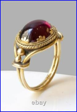 9Ct Cabochon Cut Ruby Art Rope Filigree Vintage Lyk Ring Yellow Gold Fnsh Silver
