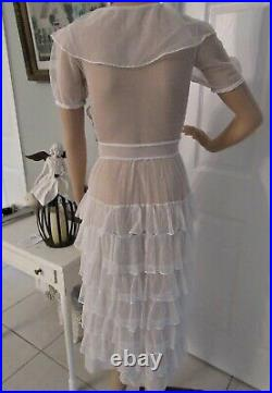 ANTIQUE 1920's SPOTTED FRENCH NET LACE With RUFFLES DRESS. PXS