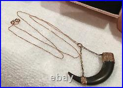 ANTIQUE VINTAGE VICTORIAN HORN FOB CHARM PENDANT-9ct ROSE GOLD-9ct GOLD CHAIN