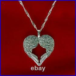 Angel Wings Heart Shape Vintage Art Deco Pendant 14K White Gold 2.69 Ct Diamond