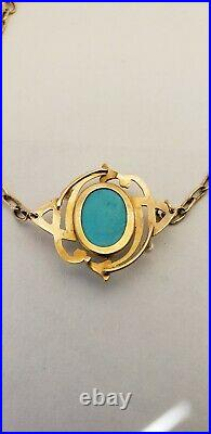 Antique 14k gold Art Deco Turquoise and Pearl Bracelet Pre-owned