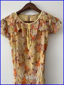 Antique 1920's 1930's Floral Silk Chiffon Tea Dress