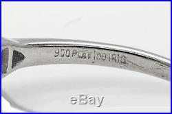 Antique 1930s $6000 ART DECO 1ct Emerald Cut Diamond Platinum Wedding Ring RARE