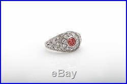 Antique 1930s ART DECO 1.50ct Genuine PINK Diamond Platinum Filigree Ring