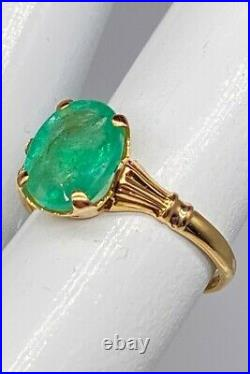 Antique 1930s ART DECO $4000 2ct Colombian Emerald 10k Yellow Gold Ring