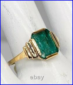 Antique 1930s ART DECO $4000 3ct Colombian Emerald 9k Yellow Gold Band Ring