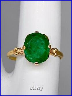 Antique 1930s ART DECO $4000 4ct Colombian Emerald 10k Yellow Gold Ring