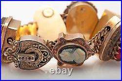 Antique 1930s ART DECO BIG 14k Gold Slide Charm Bracelet 7 82g