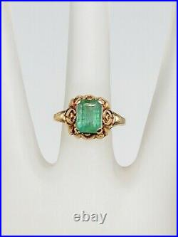 Antique 1930s Art Deco $4000 3ct Colombian Emerald 10k Yellow Gold Ring
