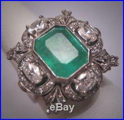 Antique 6.60ct Emerald Stone Vintage Art Deco Wedding Sterling 925 Silver Ring