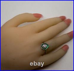 Antique Art Deco 1 Carat Diamond & Emerald Ring Platinum Size 4