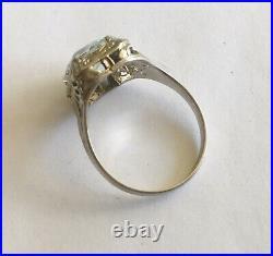 Antique Art Deco 14k White Gold Filigree Aquamarine Ring