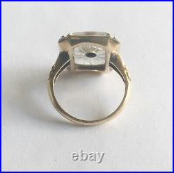 Antique Art Deco 14k Yellow Gold Frosted Crystal Ring With Diamond
