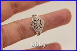 Antique Art Deco 18k Gold Diamond And Rose Cut Dimaond Decorated Ring