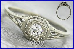 Antique Art Deco 1920 Estate 18K Gold Filigree Solitaire Diamond Engagement Ring