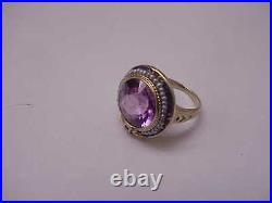 Antique Art Deco Amethyst Seed Pearl Enamel 14k Yellow Gold Ring, 1920s